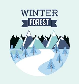 Walddesign über blauer hintergrundvektorillustration