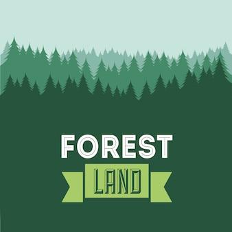 Walddesign über grüner hintergrundvektorillustration
