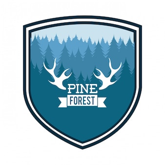 Walddesign über weißer hintergrundvektorillustration