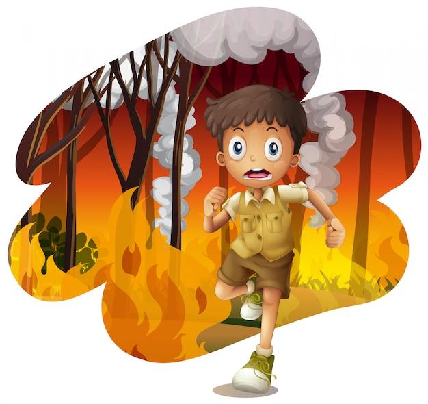 Waldforscher rennen von einem lauffeuer