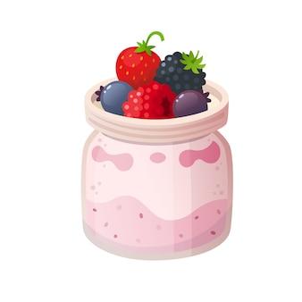 Waldfruchtjoghurt. isolierte abbildungen
