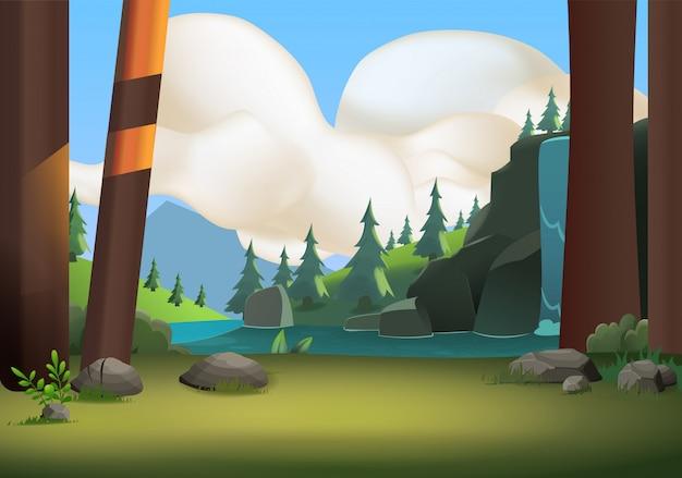 Waldhügel, dschungelberge bewölkt baumsteinnatur-landlicht