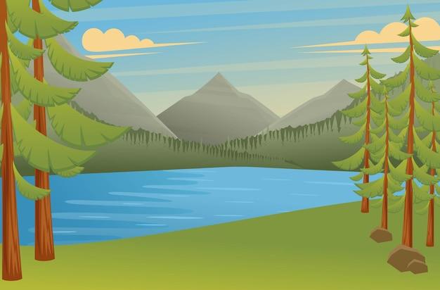 Waldlandschaft, ein großartiger ort zum zelten, schöne aussicht auf den see und die berge