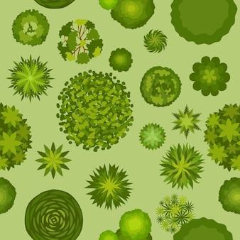 Waldlandschaft mit nahtlosem muster der baumdraufsicht. kartenplan mit busch- und baumpflanzen. grüne park- oder gartenantennenschema-vektortextur