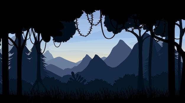 Waldlandschaft silhouette hintergrund