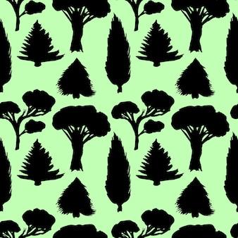 Waldnahtloses muster mit schattenbildbäumen für ihr design. schwarzer und grüner hintergrund