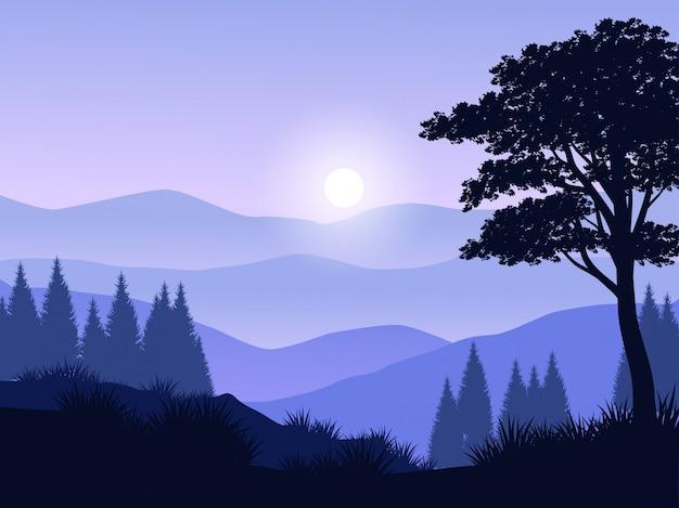 Waldschattenbildlandschaft mit berg