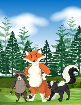 Waldszene mit wilden tieren