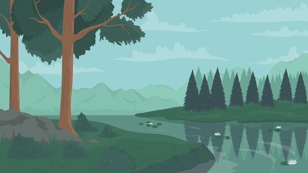 Waldszenenfluss und sommerbäume naturlandschaft sehen wilde grüne tallandschaft an
