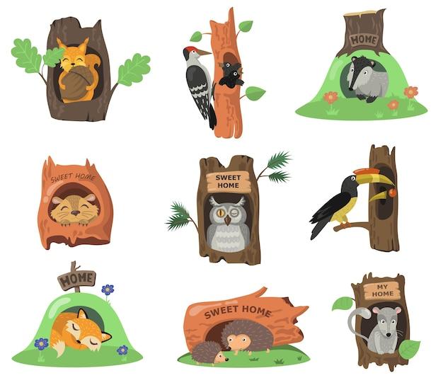 Waldtiere in hohlen flachen illustrationssatz. karikatur eichhörnchen, fuchs, eule oder vogel in eichenlöchern isolierte vektorillustrationssammlung. haus im kofferraum- und dekorationskonzept