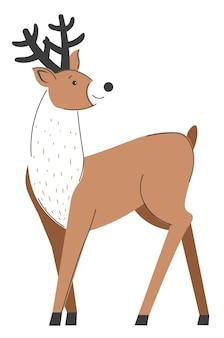 Waldtiere mit großen hörnern und flauschigem fell. isolierte ikone des weihnachtsrens. weihnachtsfeier der winterferien. elch- oder elchsäugetier im zoo oder in der wildnis. vektor im flachen stil