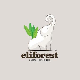 Waldweißer elefant tierlogo