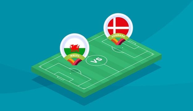 Wales gegen dänemark runde 16 spiel, vektorillustration der fußball-europameisterschaft 2020. fußball-meisterschaftsspiel 2020 gegen mannschafts-intro-sporthintergrund.