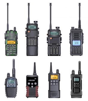 Walkie talkie realistische ikone. realistische set icon radio walky. illustration walkie talkie auf weißem hintergrund.