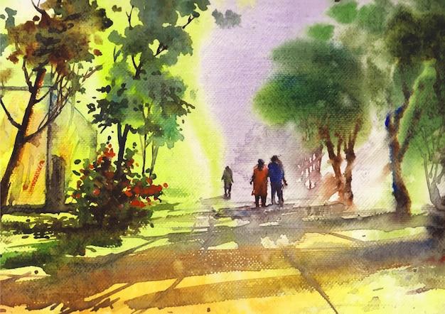 Walking road in einem park aquarellmalerei auf papier