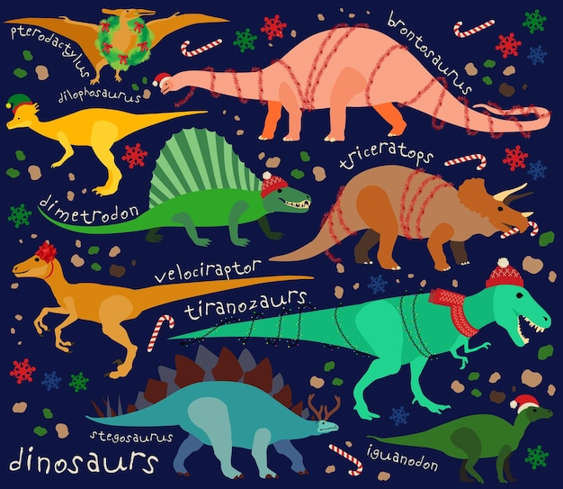 Wallpaper von weihnachtsdinosaurier für dein pc. vektor-illustration für kinder.