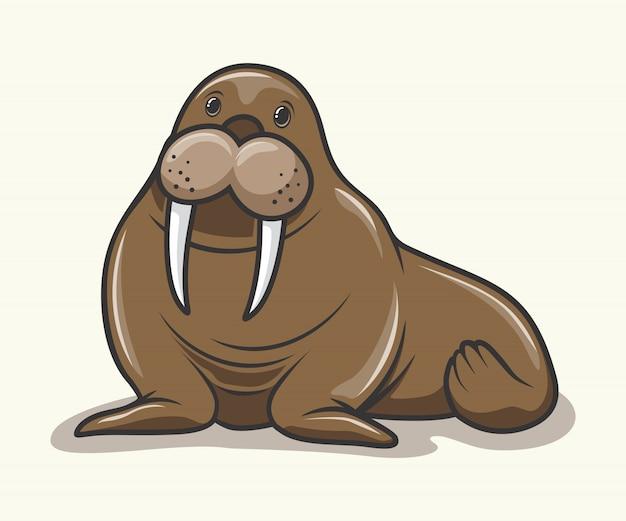 Walross cartoon nette seelöwentiere