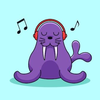 Walross tragen kopfhörer genießen hören musik vektor-illustration. siegel eckzahn seelöwen charakter maskottchen design