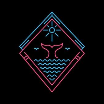 Walschwanz auf dem ozean unter dem sonnenuntergang in der hand gezeichnet
