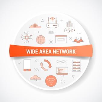 Wan wide area network-konzept mit icon-konzept mit rundem oder kreisförmigem vektor