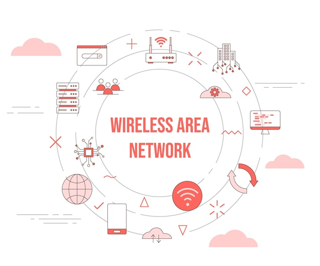Wan-wide-area-netzwerkkonzept mit icon-set-vorlagenbanner und kreis runder formvektor