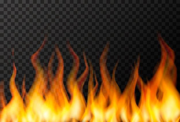 Wand der hellen feuerflamme auf transparent