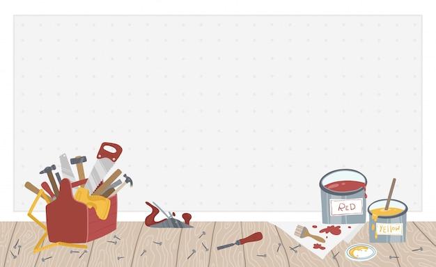 Wand mit werkzeugen, werkzeugkasten. garage illustration.
