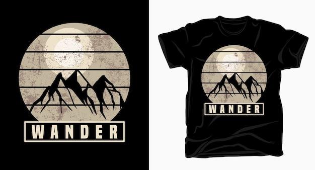 Wander typografie mit bergen t-shirt