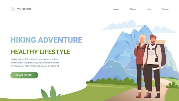 Wanderabenteuer gesunde lifestyle-tourismus website-vorlage mit jungen touristenpaar