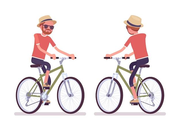 Wanderer, der fahrrad fährt