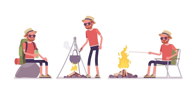 Wanderer, der nahe lagerfeuer ruht