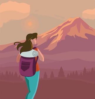 Wandererfrau mit tasche und landschaft