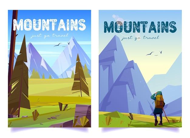 Wandererin mit stock und rucksack reist auf bergtal-vektorplakaten mit karikaturillust...