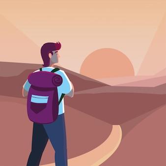 Wanderermann und -landschaft mit tasche