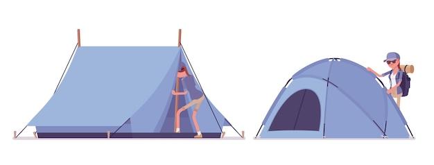 Wanderfrau, die ein zelt aufbaut