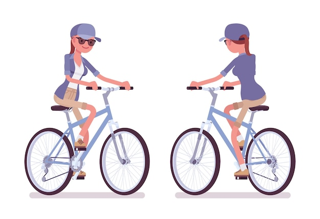 Wanderfrau fahrrad fahren