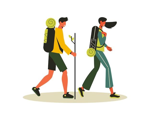 Wanderkomposition mit doodle-charakteren von mann und frau in die reise mit rucksäcken illustration