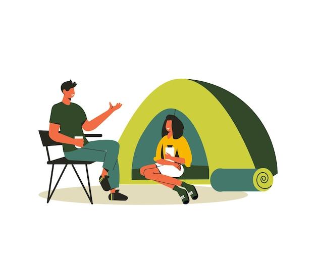 Wanderkomposition mit einer im zelt sitzenden frau und einem mann auf klappbarer stuhlillustration