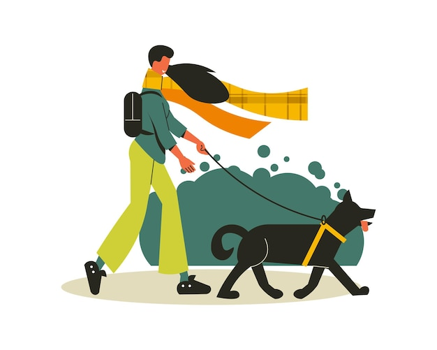 Wanderkomposition mit mädchen, das ihren hund in der wilden illustration geht