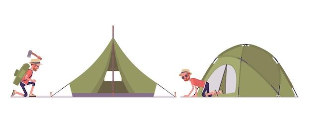 Wandermann, der ein zelt aufbaut