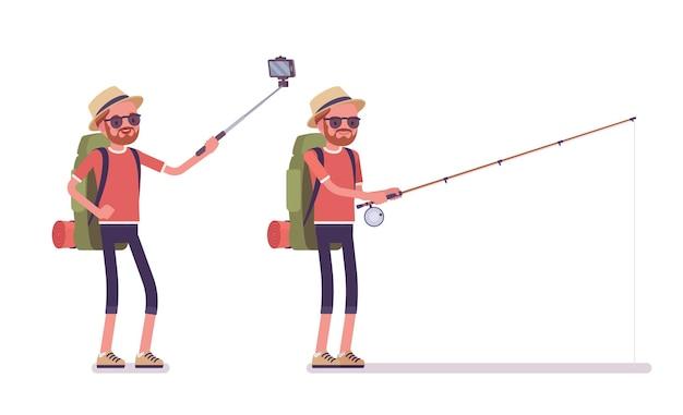 Wandermann, der selfie nimmt, fischt