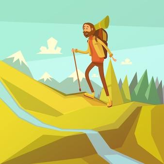 Wandern und bergsteigenkarikaturhintergrund