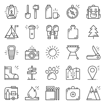 Wandern und camping icons set.
