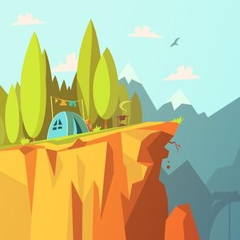 Wandern und tourismus im gebirgshintergrund mit zelt auf einer klippenkarikatur-vektorillustration
