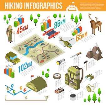 Wandern von infografiken set