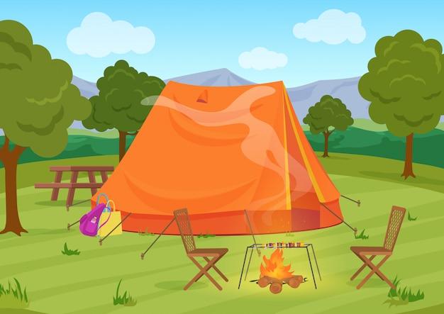 Wandern, wandern oder sport im freien camping erholungslandschaft