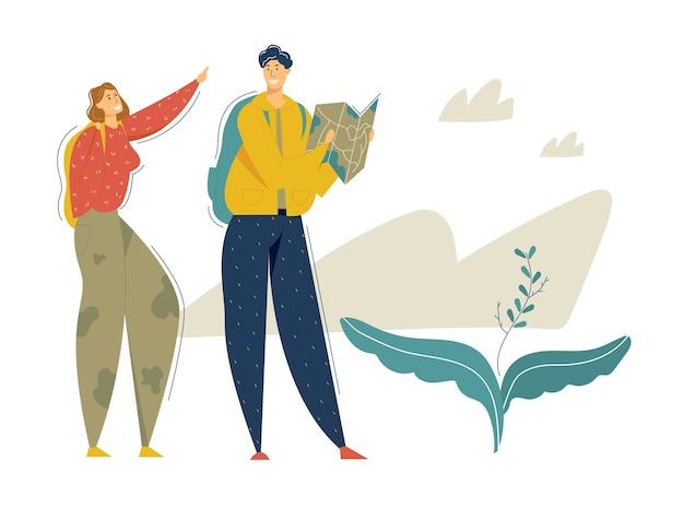 Wandertouristen in den bergen abenteuer. reisepaar mit rucksack und map walking und trekking. tourismus-konzept mit backpacker-charakteren mann und frau.