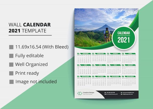 Wandkalender 2021 vorlage Premium Vektoren