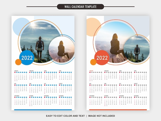 Wandkalender 2022 vorlage 12 monate mit klarem und schlichtem design