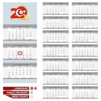 Wandkalender-planer-vorlage für das jahr 2022. türkische und englische sprache. woche beginnt ab montag.